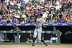 Ichiro Suzuki (Marlins),<br /> AUGUST 7, 2016 - MLB :<br /> Ichiro Suzuki of the Miami Marlins hits a triple for his 3000th career hit in Major League Baseball in the seventh inning during the Major League Baseball game against the Colorado Rockies at Coors Field in Denver, Colorado, United States. (Photo by Thomas Anderson/AFLO) (JAPANESE NEWSPAPER OUT)