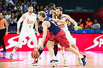 Real Madrid's player Sergio Rodriguez and Barcelona's player Oleson and Lawal during Liga Endesa 2015/2016 Finals 3rd leg match at Barclaycard Center in Madrid. June 20, 2016. (ALTERPHOTOS/BorjaB.Hojas)