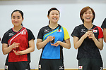 (L to R) <br /> Mima Ito, <br /> Ai Fukuhara, <br /> Kasumi Ishikawa (JPN), <br /> JULY 22, 2016 - Table Tennis : <br /> Japan national team Send-off Party <br /> for Rio Olympic Games 2016 <br /> at Ajinomoto National Training Center, Tokyo, Japan. <br /> (Photo by YUTAKA/AFLO SPORT)