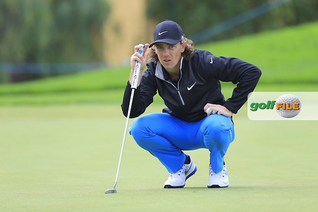 Tommy FLEETWOOD (ENG) lines up his putt on the 8th green during Saturday's Round 3 of the Portugal Masters 2015 held at the Oceanico Victoria Golf Course, Vilamoura Algarve, Portugal. 15-18th October 2015.<br /> Picture: Eoin Clarke | Golffile<br /> <br /> <br /> <br /> All photos usage must carry mandatory copyright credit (&copy; Golffile | Eoin Clarke)