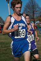 Oak Ridge's Nathan Bolin runs in the final half-mile of the 5k race where he earned All-State honors with his 19th-place finish in Class 1 at the MSHSAA State Cross Country Championships.