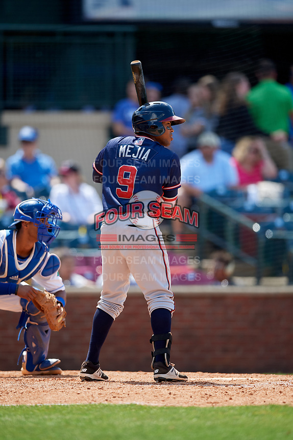 Rome Braves second baseman Luis Mejia (9) at bat in front of catcher MJ Melendez (7) during a game against the Lexington Legends on May 23, 2018 at Whitaker Bank Ballpark in Lexington, Kentucky.  Rome defeated Lexington 4-1.  (Mike Janes/Four Seam Images)