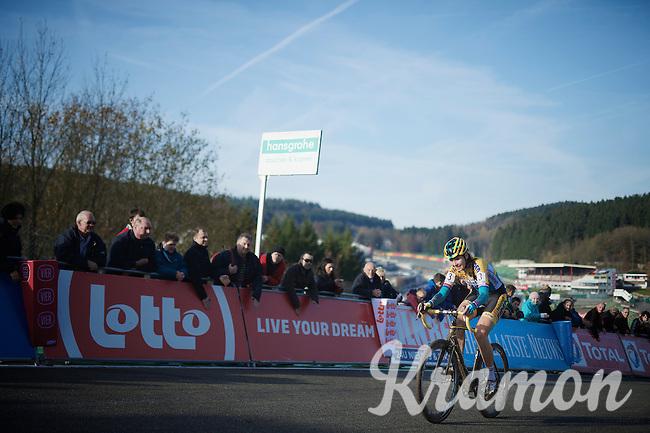 victorious Nikki Harris (GBR/Telenet-Fidea) covering the last meters up the Raidillon finish climb<br /> <br /> Superprestige Francorchamps 2014