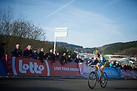 victorious Nikki Harris (GBR/Telenet-Fidea) covering the last meters up the Raidillon finish climb<br /> <br /> Superprestige Francorchamps 2014