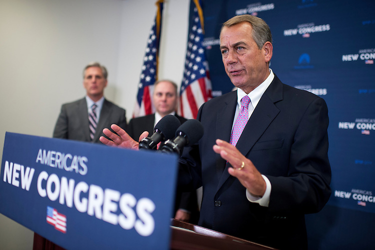 UNITED STATES - JANUARY 27: Speaker John Boehner, R-Ohio, conducts a news conference after a meeting of the House Republican Conference in the Capitol, January 27, 2015. House Majority Leader Kevin McCarthy, R-Calif., left, and Majority Whip Steve Scalise, R-La., also appear. (Photo By Tom Williams/CQ Roll Call)
