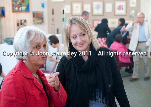Fiona Fitzpatrick (on the right), Centre Manager, at the opening of an exhibition of students' work, Adult Learning Centre, Guildford, Surrey.