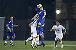 27 September 2016: Duke's Brian White (24) heads the ball over Georgia State's Salomon Lorenzano (26). The Duke University Blue Devils hosted the Georgia State University Panthers at Koskinen Stadium in Durham, North Carolina in a 2016 NCAA Division I Men's Soccer match. Georgia State won the game 2-1 in two overtimes.