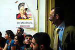 First meeting of Addio Pizzo in Partinico. In sicily pizzo is the name of racket. It is the system that Mafia uses to impose tax and bring territory under their control to people who runs a shop. Addio Pizzo is a organzation that shares the same idea : to battle against the pizzo and to say no to the Mafia...Partinico, Sicily, Italy - June 2006.
