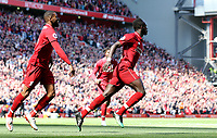 Liverpool's Sadio Mane celebrates scoring the opening goal <br /> <br /> Photographer Rich Linley/CameraSport<br /> <br /> The Premier League - Liverpool v Wolverhampton Wanderers - Sunday 12th May 2019 - Anfield - Liverpool<br /> <br /> World Copyright © 2019 CameraSport. All rights reserved. 43 Linden Ave. Countesthorpe. Leicester. England. LE8 5PG - Tel: +44 (0) 116 277 4147 - admin@camerasport.com - www.camerasport.com