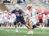 College Park, MD - May 13, 2018: Maryland Terrapins Connor Kelly (1) holds off Robert Morris Colonials Zachary Bryant (18) during the NCAA first round game between Robert Morris and Maryland at  Capital One Field at Maryland Stadium in College Park, MD.  (Photo by Elliott Brown/Media Images International)