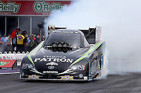 Apr. 28, 2013; Baytown, TX, USA: NHRA funny car driver Alexis DeJoria during the Spring Nationals at Royal Purple Raceway. Mandatory Credit: Mark J. Rebilas-