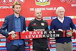 04.01.2019, BayArena, Leverkusen, GER, 1. FBL,  Bayer 04 Leverkusen PK Trainerwechsel,<br />  <br /> DFL regulations prohibit any use of photographs as image sequences and/or quasi-video<br /> <br /> im Bild / picture shows: <br /> erste Pressekonferenz von Peter Bosz Trainer / Headcoach (Bayer 04 Leverkusen), mit li SIMON ROLFES Direktor Sport (Bayer 04 Leverkusen),  re Rudi V&ouml;ller/ Voeller Geschaeftsfuehrer Sport (Bayer 04 Leverkusen), <br /> <br /> Foto &copy; nordphoto / Meuter