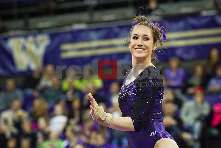 Ruby Engreitz...Washington Huskies gymnastics vs. the UCLA Bruins at Alaska Airlines Arena at Hec Edmundson Pavilion in Seattle on Friday, January 27, 2012. (Photo by Dan DeLong/Red Box Pictures)