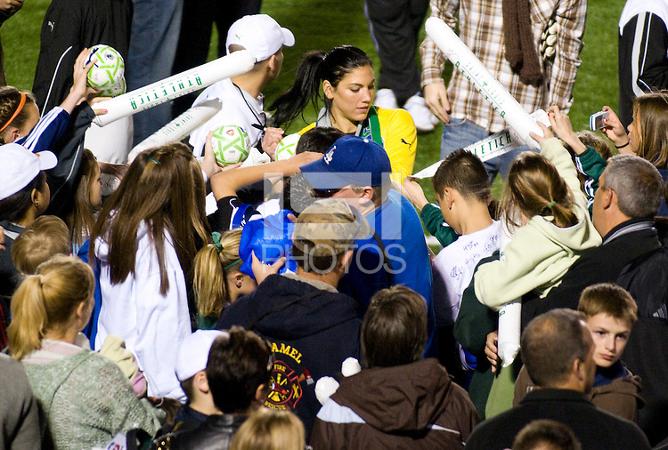 St. Louis Athletica goalkeeper Hope Solo (1) signs autographs for fans after the game. Saint Louis Athletica were defeated 1-0 by Chicago Red Stars in which was both teams inaugural game, played at Korte Stadium, Edwardsville, Illinois on April 4, 2009. Photo by Scott Rovak /isiphotos.com