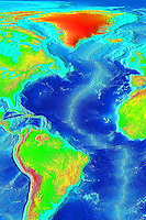 Atlantic Ocean Topography..This image was generated from digital data bases of seafloor and land elevations on a 2-minute latitude/longitude grid (1 minute of latitude = 1 nautical mile, or 1.852 km). Assumed illumination is from the west; shading is computed as a function of the east-west slope of the surface with a nonlinear exaggeration favoring low-relief areas. A Cylindrical Equidistant projection was used for the world image, which spans 360 degrees of of longitude from 180 West eastward to 180 East; latitude coverage is from 90 degrees North to 90 degrees South. The resolution of the gridded data varies from true 2-minute for the Atlantic, Pacific, and Indian Ocean floors and all land masses to 5 minutes for the Arctic Ocean floor. Clicking on a square above brings up a 512 x 512 pixel color relief image of the 45 degree area selected, clicking on the 512 x 512 image brings up the full-resolution 1350 x 1350 pixel (roughly 3 mb) color image of the area.