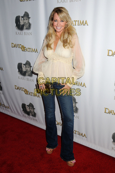 "ROBIN BAIN.""David and Fatima"" Los Angeles Premiere at the Laemmle Music Hall, Beverly Hills, California, USA..September 12th, 2008.full length jeans denim beige white cream sheer top .CAP/ADM/BP.©Byron Purvis/AdMedia/Capital Pictures."