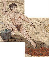 "24"" x 28"" Roman Africa Fisherman in hand chopped tumbled mosaic"