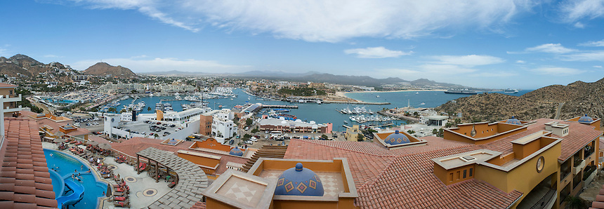 View from Playa Grande hotel of the marina at Cabo San Lucas. Press trip to Los Cabos Baja California. Mexico