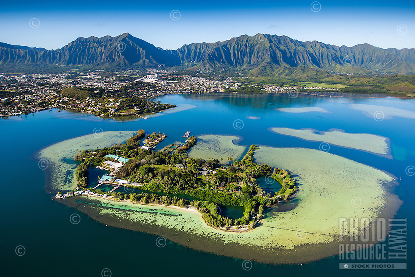 An aerial perspective of Coconut Island and the Ko'olau Range, Windward O'ahu.