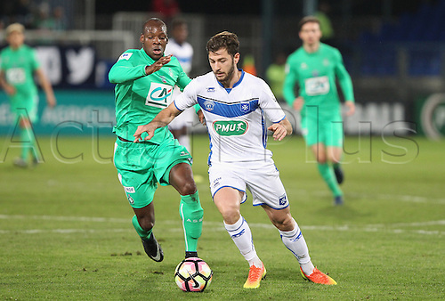 February 1st 2017, Auxerre, Burgundy, France; French Cup football, Auxerre versus St Etienne;  (Auxerre)  Stephane Sparagna                        (St Etienne) Amadou Keyta