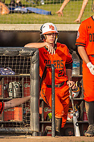 Huntington Beach Oilers Jake Vogel (27) in the dugout during a High School baseball game on February 26, 2020 in Studio City, California.  (Terry Jack/Four Seam Images)