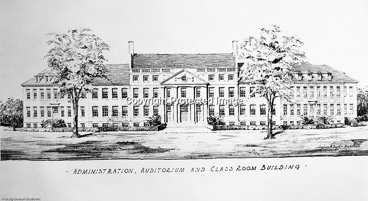 Pittsburgh PA:  View of an Ingham, Boyd and Pratt Architect's rendering of the Pennsylvania College for Women's new Administration, Auditorium and Classroom Building - 1947.  Pennsylvania College for Women changed it's name in 1955 to Chatham College.