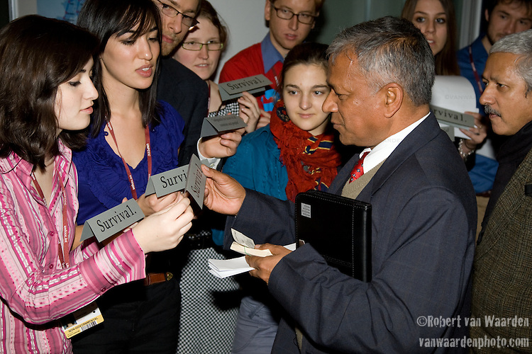 Yesterday the International Youth Delegates set themselves an ambitious goal. They want a simple and powerful principle to be a formal outcome of Poznan: We must negotiate an agreement that will safeguard the survival of all countries and peoples. .Many countries, by last count over 80, agreed to support this principle and several mentioned it in their High Level Speech. UNFCCC COP 14 (©Robert vanWaarden ALL RIGHTS RESERVED)