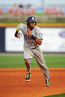 Biloxi Shuckers third baseman Yadiel Rivera (13) running the bases during the second game of a double header against the Pensacola Blue Wahoos on April 26, 2015 at Pensacola Bayfront Stadium in Pensacola, Florida.  Pensacola defeated Biloxi 2-1.  (Mike Janes/Four Seam Images)