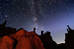Hoodoos on the horizon as the Milky Way appears just after dusk in Goblin Valley.
