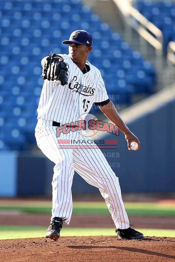June 11th 2008:  Pitcher Kelvin De La Crus of the Lake County Captains, Class-A affiliate of the Cleveland Indians, during a game at Classic Park in Eastlake,OH.  Photo by:  Mike Janes/Four Seam Images