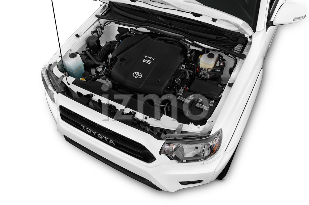 Car Stock 2015 Toyota Tacoma TRD Pro 4 Door Pickup Engine high angle detail view