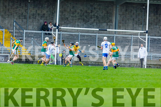 Waterford's Calum Lyons shot heading for the back of the net despite the defence of Kerry's Shane Nolan and Shane Conway in the Munster Senior Hurling League in Austin Stack Park on Sunday