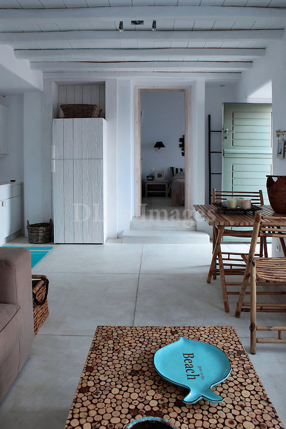 traditional cycladic living room with kitchen