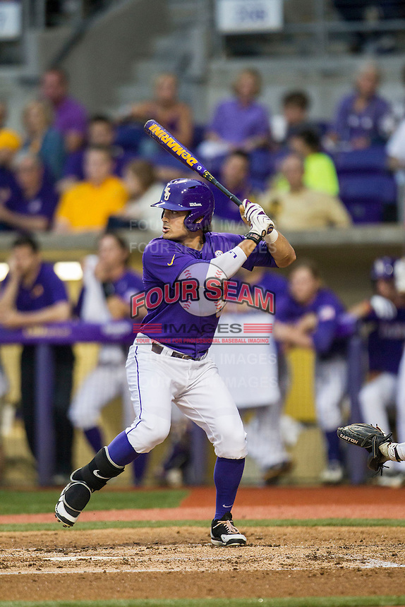 LSU Tigers outfielder Chris Sciambra (5) at bat during a Southeastern Conference baseball game against the Texas A&M Aggies on April 24, 2015 at Alex Box Stadium in Baton Rouge, Louisiana. LSU defeated Texas A&M 9-6. (Andrew Woolley/Four Seam Images)