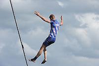 FIERLJEPPEN/POLSSTOKVERSPRINGEN: POLSBROEKERDAM: Tweekamp Holland-Friesland, Holland wint met een verschil van 7.02 meter (395.37) tegen Fryslân (388.35), Nard Brandsma, ©foto Martin de Jong