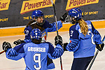 07.01.2020, BLZ Arena, Füssen / Fuessen, GER, IIHF Ice Hockey U18 Women's World Championship DIV I Group A, <br /> Italien (ITA) vs Daenemark (DEN), <br /> im Bild Torjubel nach 5:3, Aurora Abatangelo (ITA, #10), Eva Maria Grunser (ITA, #9), Anna Bertoluzzo (ITA, #2)<br /> <br /> Foto © nordphoto / Hafner