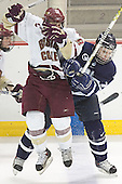 Nathan Gerbe, Joe Charlebois - The Boston College Eagles and University of New Hampshire earned a 3-3 tie on Thursday, March 2, 2006, on Senior Night at Kelley Rink at Conte Forum in Chestnut Hill, MA.  Boston College honored its three seniors, captain Peter Harrold and alternate captains Chris Collins and Stephen Gionta, before the game.
