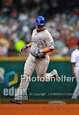 13 September 2008: Kansas City Royals' first baseman Ryan Shealy rounds the bases after hitting a solo home run in the second inning against the Cleveland Indians at Progressive Field in Cleveland, Ohio. The Royals defeated the Indians 8-4 in the second game, sweeping their double-header...Mandatory Photo Credit: Ed Wolfstein Photo