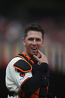 SAN FRANCISCO, CA - APRIL 5:  Buster Posey #28 of the San Francisco Giants smiles at home plate against the Tampa Bay Rays during the game at Oracle Park on Friday, April 5, 2019 in San Francisco, California. (Photo by Brad Mangin)