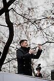 WARSAW, POLAND, 12/12/2015:<br /> Leader of Nowoczesna (Modern) party Ryszard Petru, speaking during the first pro-democracy and anti-government demonstration  organized by KOD movement (Commitee to defend democracy)