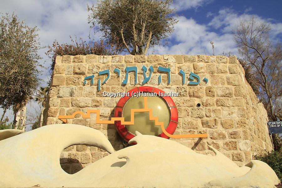 Israel, Tel Aviv-Yafo, Old Jaffa sign