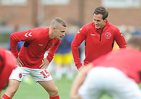 Fleetwood Town's Josh Morris (right) chats with Paul Coutts during the pre-match warm-up <br /> <br /> Photographer Kevin Barnes/CameraSport<br /> <br /> The EFL Sky Bet Championship - Fleetwood Town v AFC Wimbledon - Saturday 10th August 2019 - Highbury Stadium - Fleetwood<br /> <br /> World Copyright © 2019 CameraSport. All rights reserved. 43 Linden Ave. Countesthorpe. Leicester. England. LE8 5PG - Tel: +44 (0) 116 277 4147 - admin@camerasport.com - www.camerasport.com