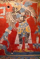 Copy of bird man mural from the Cacaxtla archaeological site in the state of Tlaxcala, National Museum of Anthropology, Chapultepec Park, Mexico City