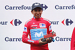 Nairo Quintana (COL) Movistar Team is the new race leader at the end of Stage 9 of La Vuelta 2019 running 99.4km from Andorra la Vella to Cortals d'Encamp, Spain. 1st September 2019.<br /> Picture: Luis Angel Gomez/Photogomezsport | Cyclefile<br /> <br /> All photos usage must carry mandatory copyright credit (© Cyclefile | Luis Angel Gomez/Photogomezsport)