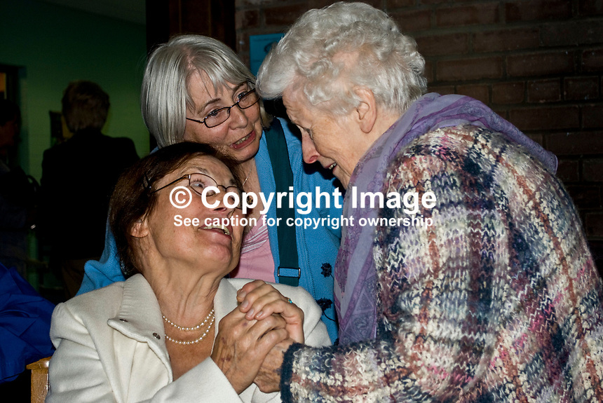 Angela van Artt, Glenarm, with Peggy McVeigh, Stranmillis, Belfast, and unknown. Picture taken at Noel Linton Memorial Service, St Bartholomew's, Stranmillis Road, Belfast. 200907092843..Copyright Image from Victor Patterson, 54 Dorchester Park, Belfast, UK, BT9 6RJ..Tel: +44 28 9066 1296.Mob: +44 7802 353836.Voicemail +44 20 8816 7153.Skype: victorpattersonbelfast.Email: victorpatterson@mac.com.Email: victorpatterson@ireland.com (back-up)..IMPORTANT: If you wish to use this image or any other of my images please go to www.victorpatterson.com and click on the Terms & Conditions. Then contact me by email or phone with the reference number(s) of the image(s) concerned.