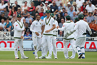 South Africa's Keshav Maharaj (2nd from left) celebrates taking the wicket of England's Jonny Bairstow<br /> <br /> Photographer Stephen White/CameraSport<br /> <br /> Investec Test Series 2017 - Second Test - England v South Africa - Day 2 - Saturday 15th July 2017 - Trent Bridge - Nottingham<br /> <br /> World Copyright &copy; 2017 CameraSport. All rights reserved. 43 Linden Ave. Countesthorpe. Leicester. England. LE8 5PG - Tel: +44 (0) 116 277 4147 - admin@camerasport.com - www.camerasport.com