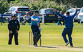 Cricket Scotland - the Citylets Scottish Cup Final between Carlton CC V Heriots CC at Meikleriggs, Paisley (Ferguslie CC) - Heriots Mark Watt appeals for lbw to Umpire Andy Baird, ungiven, while Carlton bat Fraser Burnett appeals for calm - picture by Donald MacLeod - 25.08.19 - 07702 319 738 - clanmacleod@btinternet.com - www.donald-macleod.com
