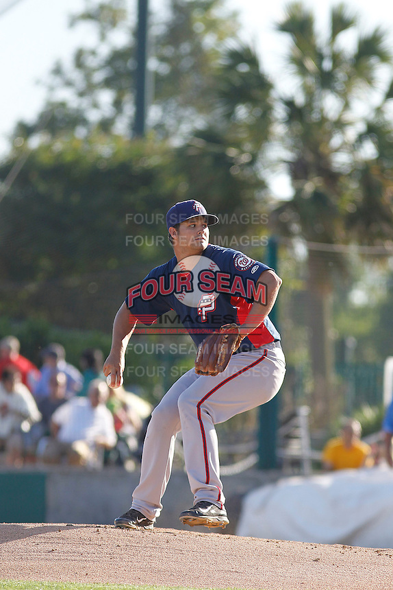 Potomac Nationals pitcher Tyler Mapes (22) on the mound during a game against the Myrtle Beach Pelicans at Ticketreturn.com Field at Pelicans Ballpark on May 23, 2015 in Myrtle Beach, South Carolina.  Myrtle Beach defeated Potomac 7-3. (Robert Gurganus/Four Seam Images)