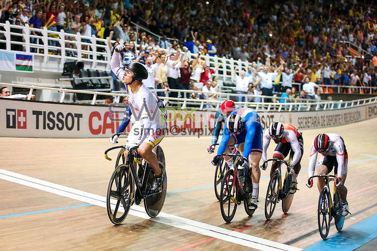 Picture by Alex Whitehead/SWpix.com - 18/02/2017 - Cycling - Tissot UCI Track Cycling World Cup - Velodromo Alcides Nieto Patino, Cali, Colombia - Colombia's Fabian Hernando PUERTA ZAPATA celebrates winning the Men's Keirin final.