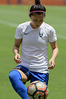 Houston, TX - Saturday May 27, 2017: Nahomi Kawasumi warming up during a regular season National Women's Soccer League (NWSL) match between the Houston Dash and the Seattle Reign FC at BBVA Compass Stadium.